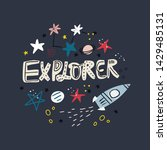 explorer flat hand drawn vector ... | Shutterstock .eps vector #1429485131