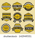 taxi cab set insignia  vintage... | Shutterstock . vector #142949551