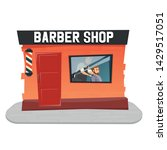 stylish hairdresser cutting... | Shutterstock .eps vector #1429517051