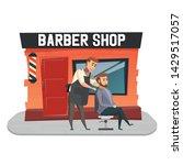 stylish hairdresser cutting... | Shutterstock .eps vector #1429517057