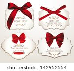 set of elegant cards with red... | Shutterstock .eps vector #142952554