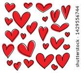 set of doodles hearts. grunge... | Shutterstock .eps vector #1429556744