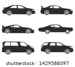 Stock vector vector cars icons set side view 1429588397