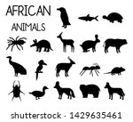 Stock vector african animal silhouettes set of icons in flat style african fauna dwarf goose african vulture 1429635461