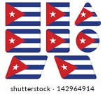 set of buttons with flag of cuba | Shutterstock .eps vector #142964914
