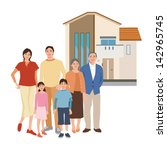 a house and family | Shutterstock .eps vector #142965745