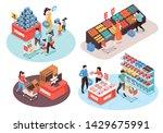 supermarket 4 isometric...   Shutterstock .eps vector #1429675991