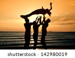 group of happy people parting... | Shutterstock . vector #142980019