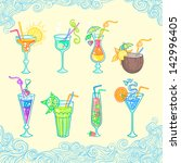 set of 8 summer cocktails. | Shutterstock .eps vector #142996405