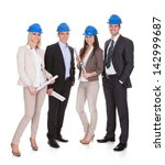 group of happy architect... | Shutterstock . vector #142999687