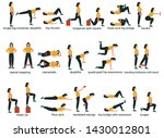 set of glute exercises and... | Shutterstock .eps vector #1430012801