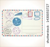postal stamp and post card... | Shutterstock . vector #1430053727