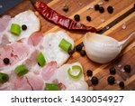 uncured apple smoked bacon...   Shutterstock . vector #1430054927