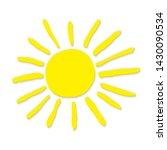 hand drawn sun. yellow sun... | Shutterstock . vector #1430090534