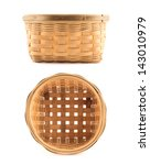 Wooden Wicker Basket Isolated...