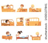 cute creative kids playing toys ... | Shutterstock .eps vector #1430137841