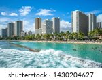 Skyline Of Honolulu At Waikiki...