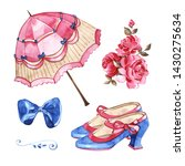 Vintage Set. Shoes  Roses  Bow...