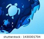 paper art craft of underwater...   Shutterstock .eps vector #1430301704
