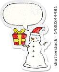 cartoon snowman with present... | Shutterstock .eps vector #1430344481
