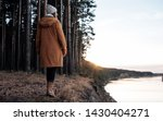 back view of woman in warm... | Shutterstock . vector #1430404271