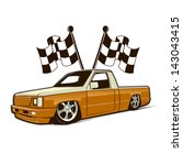race car truck and flags. fully ... | Shutterstock .eps vector #143043415