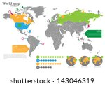 world map with markers | Shutterstock .eps vector #143046319