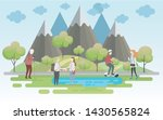 people relaxing in nature in a... | Shutterstock .eps vector #1430565824