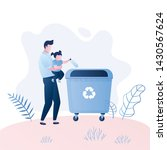 man with a child throw garbage... | Shutterstock .eps vector #1430567624