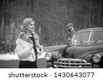Stock photo retro photo of two traveler woman and man in retro car 1430643077