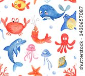 cute sea animals watercolor... | Shutterstock . vector #1430657087