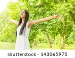 happiness young woman enjoyment ... | Shutterstock . vector #143065975