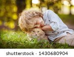 little curly boy with a redhead ... | Shutterstock . vector #1430680904
