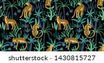 seamless pattern with leopards... | Shutterstock . vector #1430815727