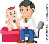 the doctor is checking the baby ...   Shutterstock .eps vector #1430823047
