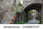 Viterbo medieval streets in the morning