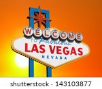 las vegas welcome sign with... | Shutterstock . vector #143103877
