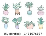 vector set of cute house plants ... | Shutterstock .eps vector #1431076937