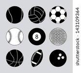 sports balls over gray... | Shutterstock .eps vector #143109364