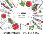 turkish food. shawarma hand...   Shutterstock .eps vector #1431115157