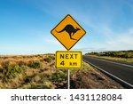 an iconic kangaroo road sign... | Shutterstock . vector #1431128084