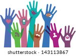hands with communication icons.... | Shutterstock .eps vector #143113867