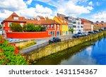 summer river town houses view.... | Shutterstock . vector #1431154367