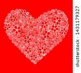 heart shape vector on red... | Shutterstock .eps vector #1431179327