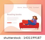young woman reading book... | Shutterstock .eps vector #1431199187