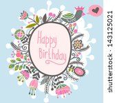 beautiful greeting card with... | Shutterstock .eps vector #143125021