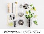 Stock photo set of bar accessories for cocktail making shaker jigger glass spoon and other bar tools with 1431339137