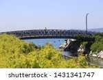 suspension bridge was built... | Shutterstock . vector #1431341747