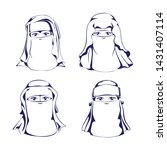 niqab hijab veil icon lineart... | Shutterstock .eps vector #1431407114