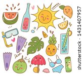 set of summer related object in ... | Shutterstock . vector #1431407957